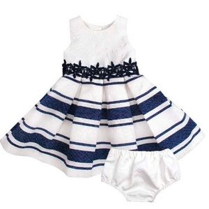 Navy & White Stripe A-line Dress & Bloomers